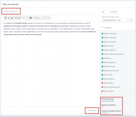 optimiza tu texto con el content optimizer