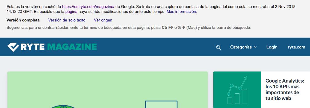 Cache comandos de búsqueda de Google