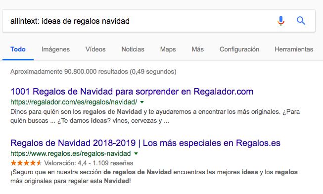 allintext comandos de búsqueda de Google