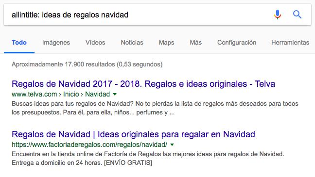 allintitle comandos de búsqueda de Google