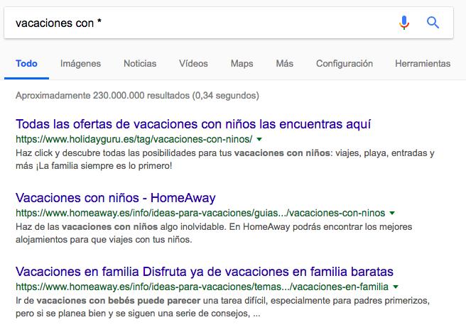 comodín comandos de búsqueda de Google