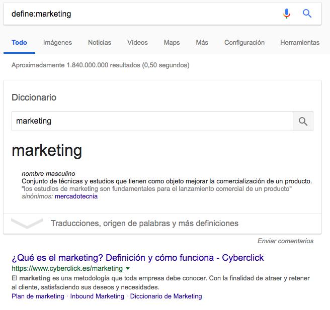 define comandos de búsqueda de Google