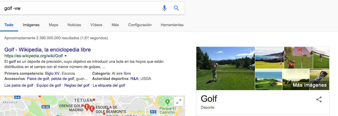 excluir-términos comandos de búsqueda de Google