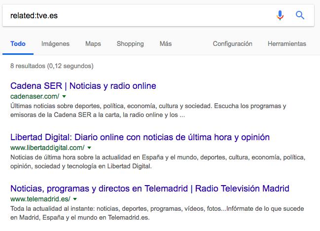 related comandos de búsqueda de Google